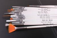al por mayor uñas de gel conjunto de cepillo del arte-15 herramientas del clavo de las PC de las decoraciones del arte del cepillo fijaron las herramientas la pluma profesional de la pintura para las extremidades falsas del clavo UV el gel del clavo pulida