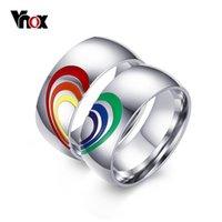 couple rings fashion mens vnox heart rainbow ring gay and lesbian lgbt pride wedding rings unique - Lesbian Wedding Rings