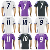 Wholesale 16 Real Madrid Soccer Thailand Jerseys Ronaldo James Bale Benzema Thai Quality Men Football Jersey AAA White Purple Black Home