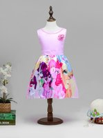 american candy lot - 2017 New Girls Cartoon Pony Print Dress Candy Color Summer Holiday Party Dress