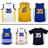 Wholesale 2016 Men s New Kevin Durant Youth Jersey Embroidery Gold Blue White Black Jersey