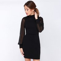 Wholesale hot sale Women Dress Pure Color Sexy Backpack Hip Pencil Skirt Slimming Splicing Dress HRX07