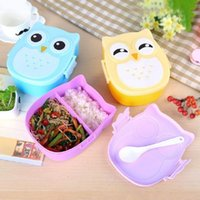 bento children - 1050ml Cartoon Owl Lunch Box Food Fruit Picnic Storage Container Food safe Plastic Portable Bento Box for Children Gifts WA1866