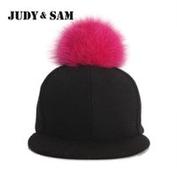 Ball Cap amazing fox - Amazing Winter Genuine Fluffy Fox Fur Pompon Baseball Hats for Boys and Girls Fall Warm Fur Ball Cap Snapback