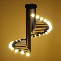 industry loft vintage araa negro hierro viento espiral escaleras lmpara colgante retro saln iluminacin led e vv
