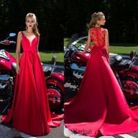 Wholesale Daria Karlozi A Line Prom Dresses Appliques Beads Delicate Sash Evening Dress Sweep Length Plunging Neckline Formal Evening Gowns