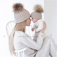Wholesale 2Pcs Mom and Baby Crochet Knit Beanie Women cap Infant Kids hat with Fur Ball Kids newborn Winter Baby child Hat Cap M288 B
