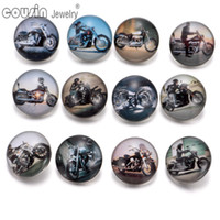 Wholesale Mixed styles mm snap button Jewelry motorcycle glass Snap Fit snap Bracelet Jewelry KZ0240