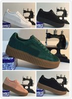 animal skate - Hot Sale Rihanna x Suede Creeper Black White Pink Oatmeal Women Men Running Shoes Fashion Rihanna Shoes Skate Sneakers With Box Size