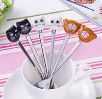 Wholesale 2017 New black and white cat brown bear stainless steel spoon and fork mixing spoon cute ceramic cartoon tableware