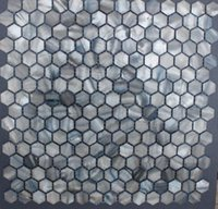 Wholesale 20mm dyed Grey Hexagon Geometric Fresh Water Mother of Pearl Shell Tiles