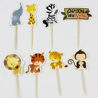 baby safari - Jungle Safari Cupcake Picks Animal Cake Toppers Cartoon Cupcake Inserts Card Birthday Baby Shower Kids Party Favors