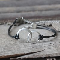 Wholesale silver or gold entwined circles Leather Bracelet Double Circle necklace Sisters jewelry Gift for sister Birthday gift