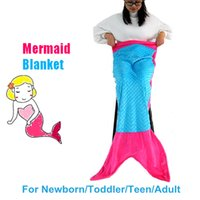 Wholesale 50X148cm Children Polyester Minky Mermaid Tail Blanket Super Soft Animal Sleeping Bag Colors in Stock for Christmas Gifts
