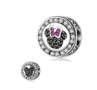Wholesale Fits Pandora Bracelets Double Face Minnie Mickey Enamel Charm Bead Loose Beads For Diy European Sterling Necklace Women