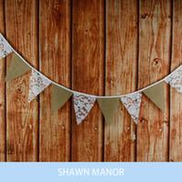 Grossiste-12flags-320cm / 126inch Lace Hessian Tissu Bannières Drapeaux Personnalité Mariage Bunting Decor Party Decoration