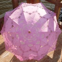 Wholesale Pink Bridal Accessories Wedding Lace Parasol White Lace Umbrella Accessory Bridal Party Decoration Cosplay Photo Prop