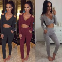 Wholesale Sexy Pieces Sets New Winter Women Long Sleeve Crop Top and Pants Sling Party Club Wear Full Bodycon Bandage Jumpsuit Clothes