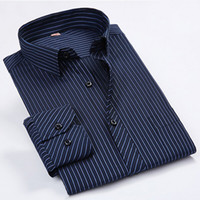 Wholesale Fashion Men Shirts Male Striped Formal Dress Shirt Long Sleeve Mens Brand Casual Shirts Plus Big Size XL XL