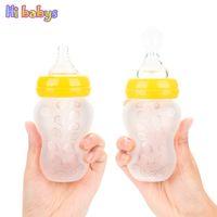 Grossiste-180ml 2in1 bébé bouteilles et nourrir cuillère bébé en silicone bébé alimentation bébé bouteille d'eau bouteilles de soins infirmiers avec 2ps Nibbler