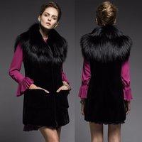 Wholesale Women fashion Fur Vest Jacket fox fur long outwear vest slim warm winter lady coat