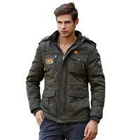 Wholesale Outdoor Windbreaker Men Jackets Winter Warm Thick Jacket Coat Men Fashion Military Hooded Coat with Fleece