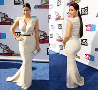 Cheap 2016 Kim Kardashian Celebrity Red Carpet Dresses V Neck Capped Sleeves Sash Formal Evening Gowns Zipper Back Sweep Train Mermaid Prom Dress