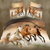 Wholesale gorgeous d running horse TC cotton queen size bedding set of duvet cover bed sheet pillow cases kit