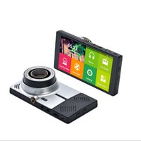 Wholesale 5 quot Android Quad core Car DVR GPS Navigation Wifi Parking Rearview Mirror recorder Dual cameras Dash Cam with Free map