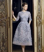 beautiful power - Lavender Elie Saab Beautiful Applique Lace A Line Formal Prom Dresses Long Sleeve Tea Length Sexy Party Evening Dress Gowns Exquisite