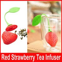 Wholesale New Silicone Cute Red Strawberry with leaf Tea Leaf Strainer Herbal Spice Tea Infuser Filter Tools