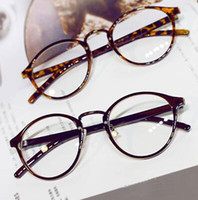 bag mirror frames - New Classics round Eyewear Optical Clear Lens Glasses for Women Leather Wrap Legs Skull Frame With Bag Concise Red Brown Black Eyeglasses