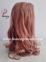 2017 nuevas pelucas lindas de las mujeres del estilo atan las pelucas de las mujeres del frente pelo sintético del color de rosa del pelo sueltan las pelucas de las mujeres de la onda mirada muy natural