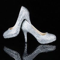 Wholesale Shiny Rhinestones Beads Bridal Shoes Handmade Wedding Pumps Lady Evening Party Pageant Prom Pumps High Heels