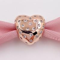 Día de San Valentín 925 cuentas de plata rosa color plata encanto de corazón chispeante se ajusta a Pandora estilo europeo joyería pulseras 781241CZ chapado en oro