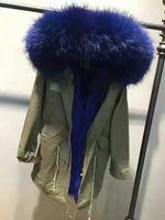 Wholesale Lavish blue fur MR MRS Itlay blue fox fur lined army green long parka MR MRS furs winter fur coats