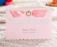 Wholesale D Cute Pink Baby Girl Invitation Card Baby Shower Birthday Party Invite with Satin Ribbon