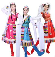 Wholesale The new national wind dance performance clothing ethnic Tibetan costumes Dress female twirls stage from china