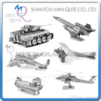 apache ah - DHL Piece Fun D War vehicle plane AH Apache CH Chinook Chi Ha T Tiger tank Metal Puzzle adult models educational toy