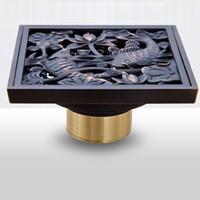 bathroom artwork - Deodorization Drain Toilet Bathroom Floor Drain x10cm Antique Brass Material Artwork Design Euro Square Floor Drain Shower Drain