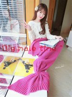 Cheap The new popular knitting blanket mermaid tail air conditioning blanket wool knitting nap blanket woven blankets sofa creative gift