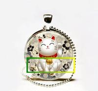 al por mayor japonés suerte-Collar afortunado a mano al por mayor del gato, negro y gris Maneki Neko Arte japonés de Chiyogami Penda