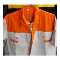 Wholesale Lstest Version Summer Short Sleeve Work Uniform Clothes Suit Vehicle Repair Superior Fabric Anti dust Five Size Orange Shoulder Beige Body