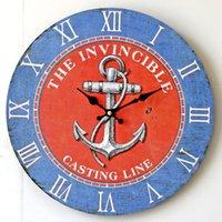 Digital anchor wall decoration - 14 Mediterranean ship anchor wood frame wall clock Restaurant wall decoration pendant