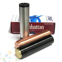 Acheter Noir manhattan-Vaporisateur Manhattan Mod Noir SS Red Copper Manhattan Mod avec 510 fils de haute qualité 18650 Full Mechanical Mod DHL Free