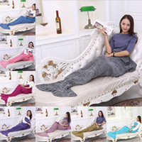 Home air yarn - 2017 Mermaid blankets Yarn Knitted blanket wool knitting tail sofa covers air conditioning blanket Christmas Valentine s Day Gifts