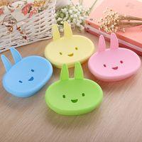 Wholesale Cartoon Rabbit Soap Box Plastic Dishes Creative Storage Bath Tool Tray Drain Non slip Soap Holder Bathroom Accessories