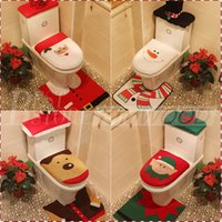 best toilet seat - 4 Styles Cheap Merry Christmas Decoration Santa Elk Elf Toilet Seat Cover Rug Hotel Bathroom Set Best Xmas Decorations Gifts Free DHL