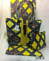 Wholesale beautiful yellow African dashiki fabric cotton wax prints suit with two bags set for nigerian women yards DFB