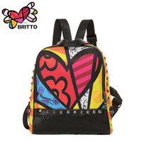 Wholesale Purchase BRITTO Printing Backpack Student School Bags For Teenage Graffiti Style Bookbags Vintage Laptop Backpacks